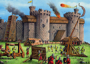 A Trebuchet Catapult Siege Attack on a Castle