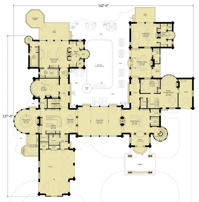 Castle like home floor plans for Modern castle house plans