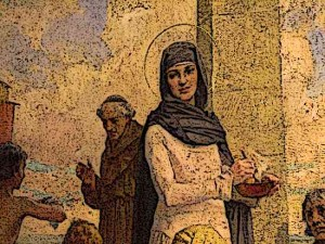Medieval-Women-St-Hilda-of-Whitby-ames-Clark(Oil-Painting