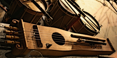 medieval msic and instruments Medieval music used many plucked string instruments like the lute, a fretted instrument with a pear-shaped hollow body which is the predecessor to the modern guitar other plucked stringed instruments included the mandore , gittern , citole and psaltery .