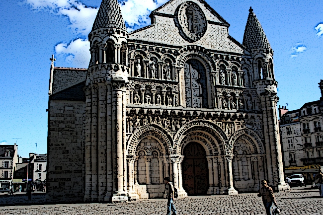 exterior romanesque architecture church picture