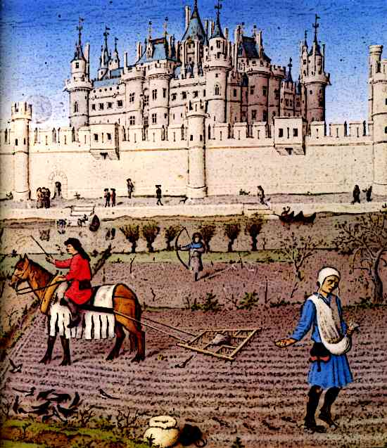 Medieval castle life peasants ploughing field medieval for Art culture and cuisine ancient and medieval gastronomy