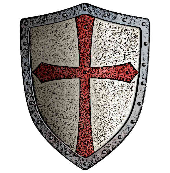templar or crusader metal shield isolated on white picture