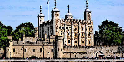 Tower of London as viewed from the river Thames