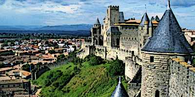 Medieval France Carcassonne walls and towers count
