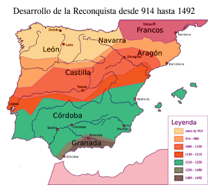 Map giving Timeline of the reconquista