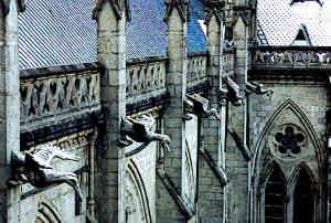 Ecuador Cathedral stone gargoyles