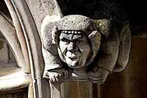 Medieval Gargoyle Sticking Out Tongue