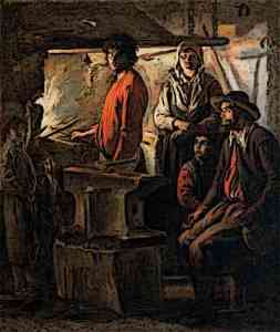 Medieval Blacksmith working