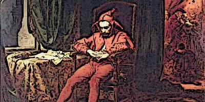Medieval Jester rests after performance