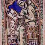 Illuminated Manuscripts Medieval Scribe Eadwine at work psalter christ church canterbury