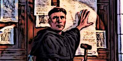 Posting of 95 theses by Martin Luther in Protestant Reformation