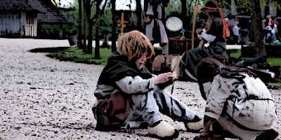 Medieval Children playing in medieval village