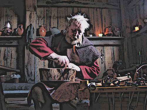 Medieval Cobbler repairs shoes