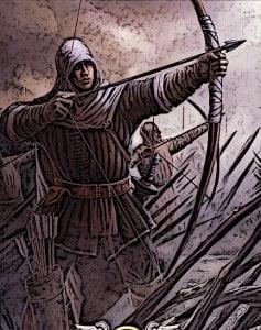 Meieval Longbowmen Fire Arrows