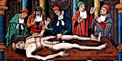 Medieval Doctors dissect a human body