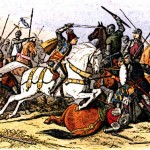 Medieval King Richard III is pictured in the midst of battle