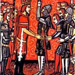 Medieval Vassal and Medieval King Meeting