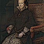 Medieval Queen Mary I Bloody Mary sitting on castle chair