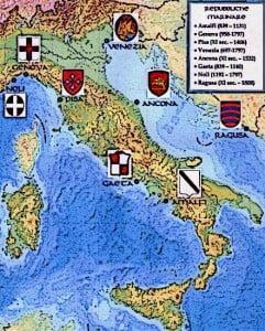 Map of Medieval Italy Le Repubbliche Marinare