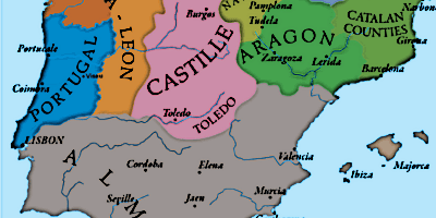 Map Of Spain Under Moorish Rule.Moorish Period