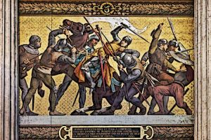 Burgundian troops capture Joan of Arc Soldiers Pull her from her horse