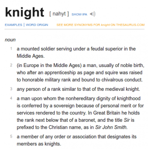 Definition of a Medieval Knight at Dictionary.com